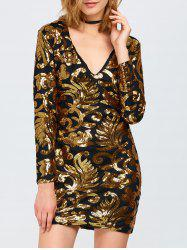 Sparkly Party Glitter Sequin Bodycon Mini Dress with Long Sleeves -
