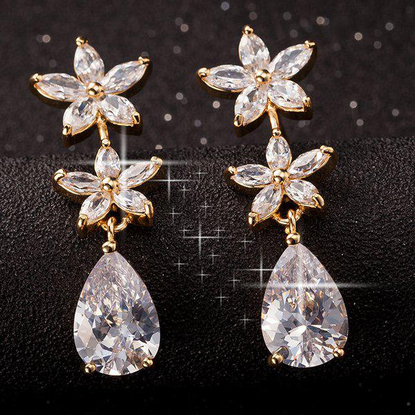 Latest Floral Faux Crystal Water Drop Earrings