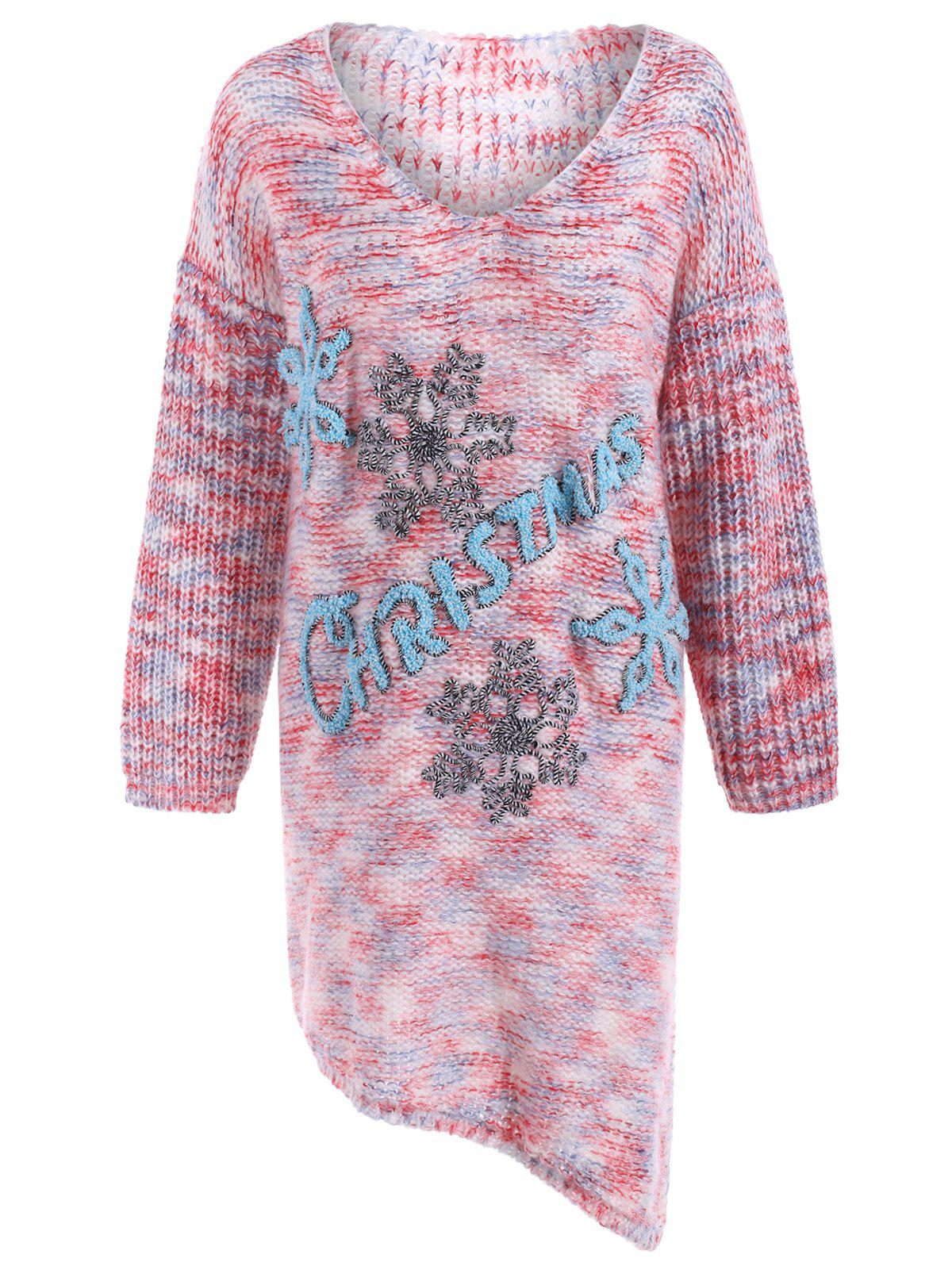 Online Plus Size Christmas Graphic Asymmetrical Sweater