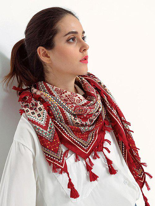 Ethnic Totem Pattern Tassel Shawl Wrap ScarfACCESSORIES<br><br>Color: WINE RED; Scarf Type: Scarf; Group: Adult; Gender: For Women; Style: Fashion; Season: Fall,Spring; Scarf Length: 110CM; Scarf Width (CM): 110CM; Weight: 0.1800kg; Package Contents: 1 x Scarf;