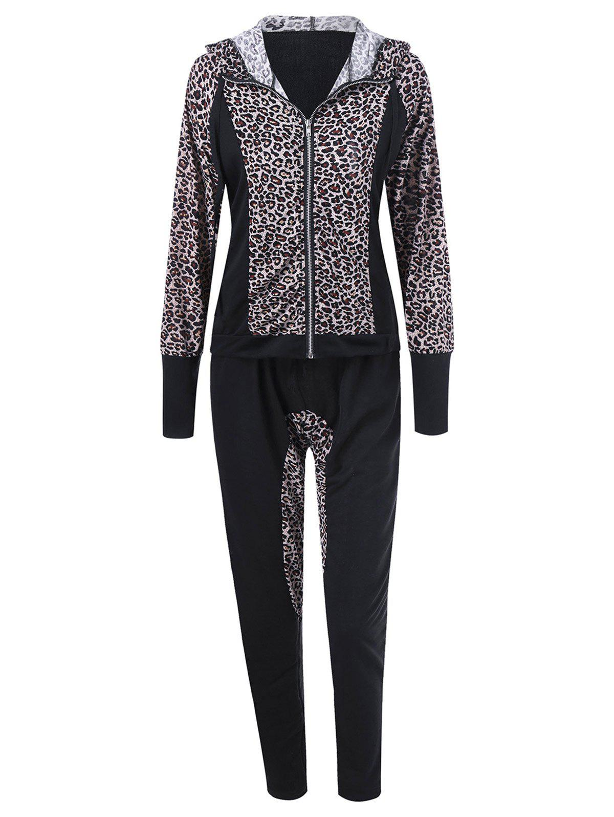 Online Athletic Pants With Leopard Zipper Hoodie