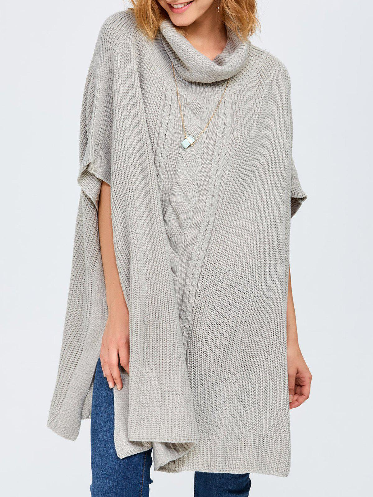 Chic Chunky Cable Knit Batwing Sleeves Sweater