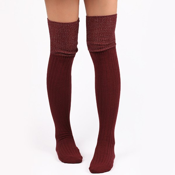 Warm Ribbed Knit StockingsACCESSORIES<br><br>Color: WINE RED; Type: Stockings; Group: Adult; Gender: For Women; Style: Fashion; Pattern Type: Solid; Length(CM): Heel to edge length:60CM;Foot length:20CM; Width(CM): 8CM; Weight: 0.120kg; Package Contents: 1 x Stockings(Pair);