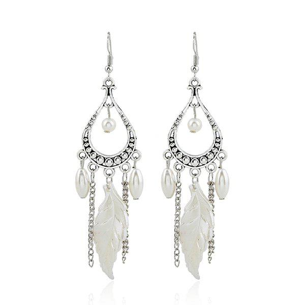 Affordable Fake Pearl Feather Chandelier Earrings