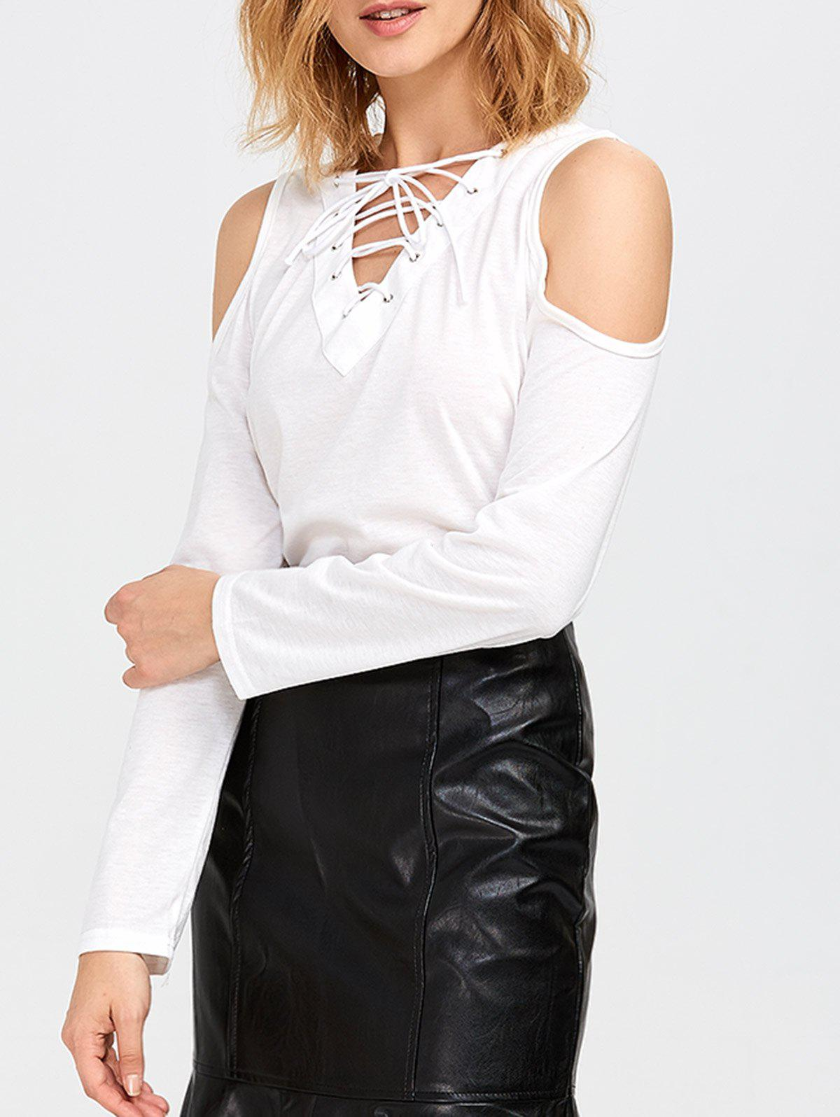 Discount Long Sleeve Cold Shoulder Lace Up T-Shirt