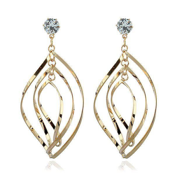 Buy Rhinestone Alloy Leaf Drop Earrings