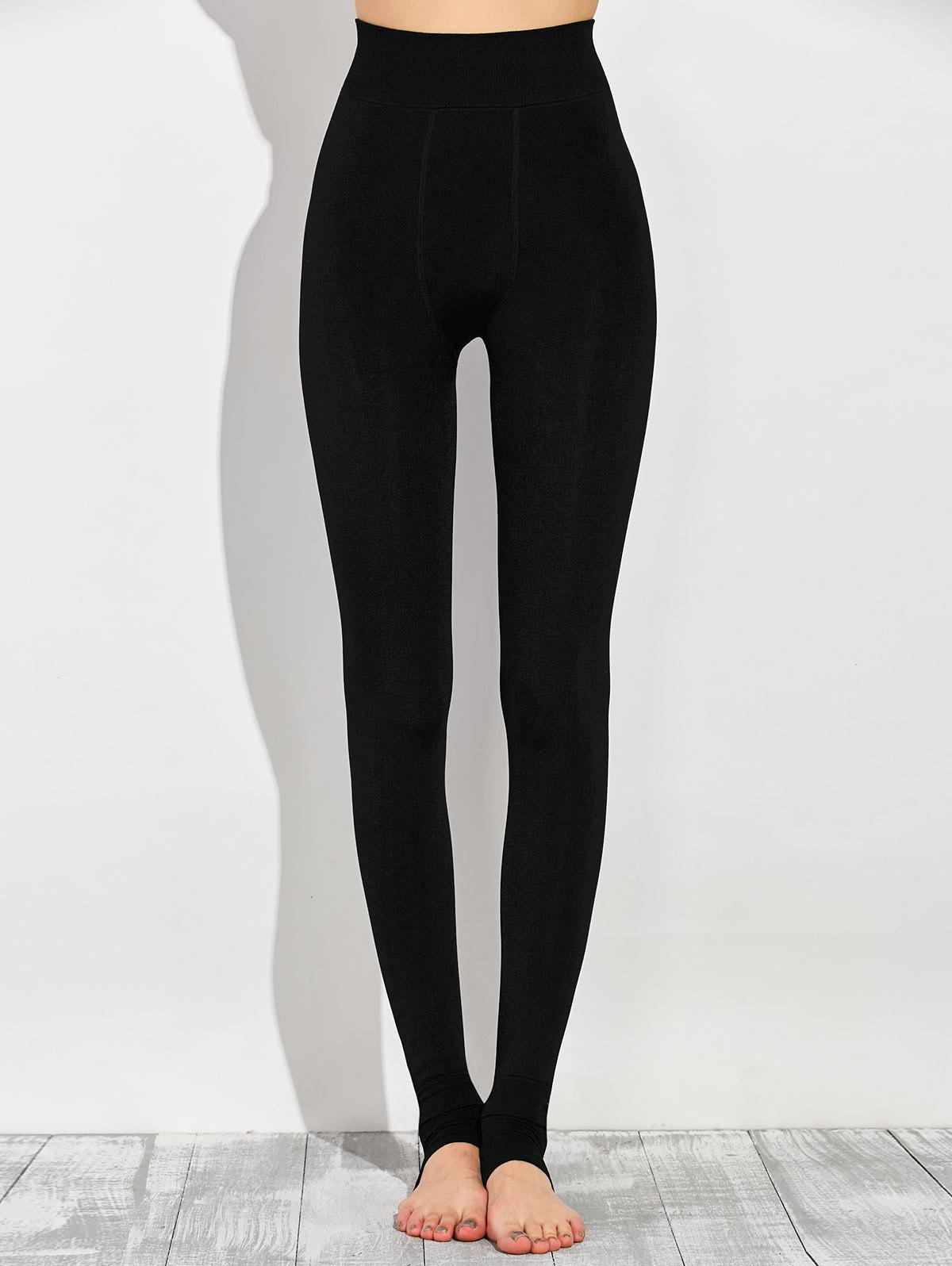 Stretchy Stirrup LeggingsWOMEN<br><br>Size: ONE SIZE; Color: BLACK; Style: Fashion; Material: Polyester; Waist Type: High; Pattern Type: Solid; Elasticity: Elastic; Weight: 0.400kg; Package Contents: 1 x Leggings;