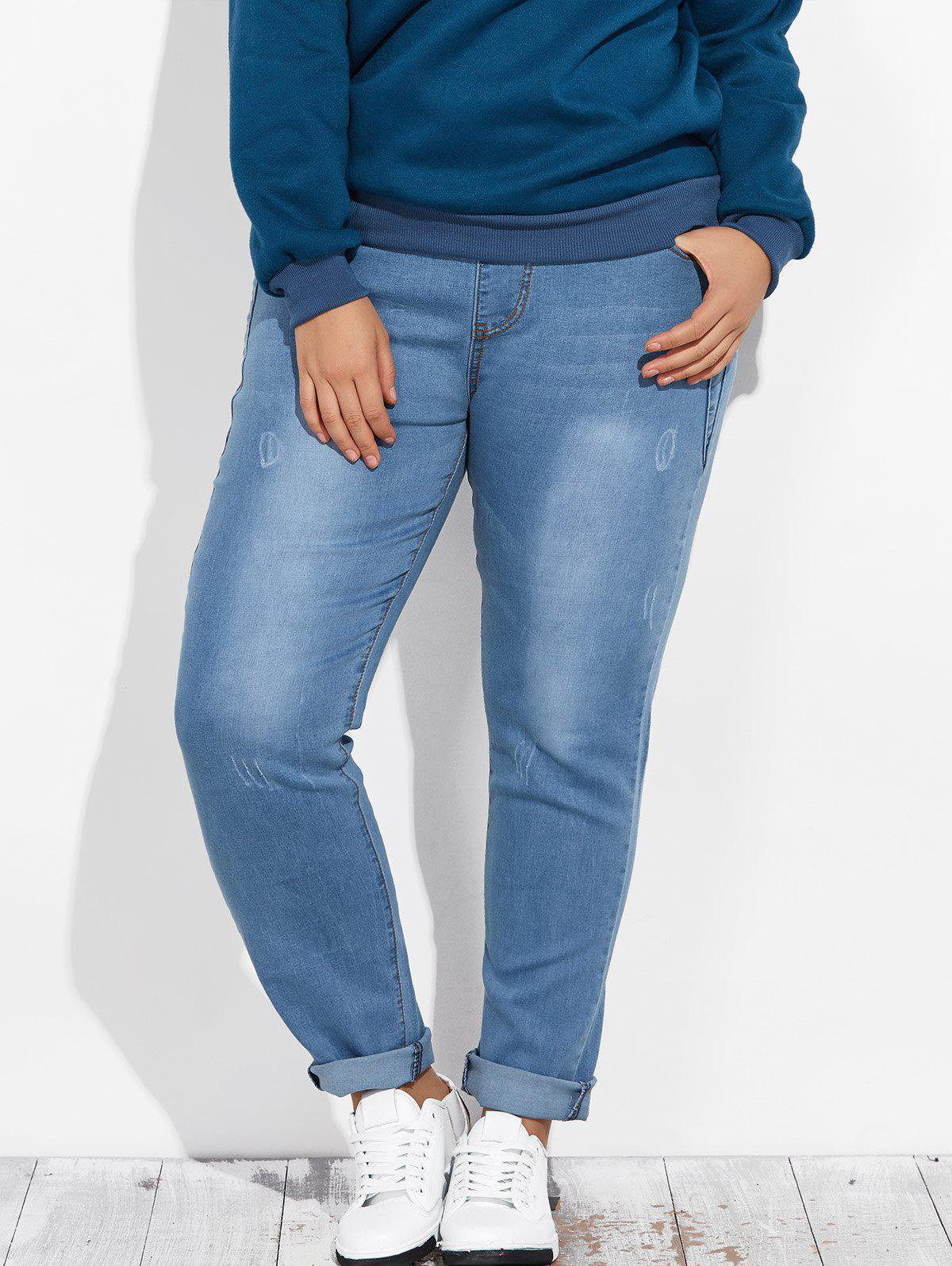 Drawstring Tapered Denim Jogger PantsWOMEN<br><br>Size: 4XL; Color: LIGHT BLUE; Style: Fashion; Length: Normal; Material: Polyester; Fit Type: Skinny; Waist Type: Mid; Closure Type: Elastic Waist; Pattern Type: Others; Pant Style: Pencil Pants; Weight: 0.350kg; Package Contents: 1 x Jeans;