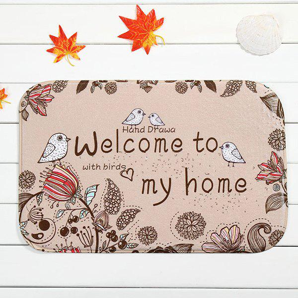 Floral Bird Antislip Absorbent Door Entrance CarpetHOME<br><br>Color: LIGHT APRICOT PINK; Type: Carpet; Material: Fleece Fabric; Style: Contemporary; Shapes: Rectangle; Size(CM): 40*60; Weight: 0.480kg; Package Contents: 1 x Carpet;