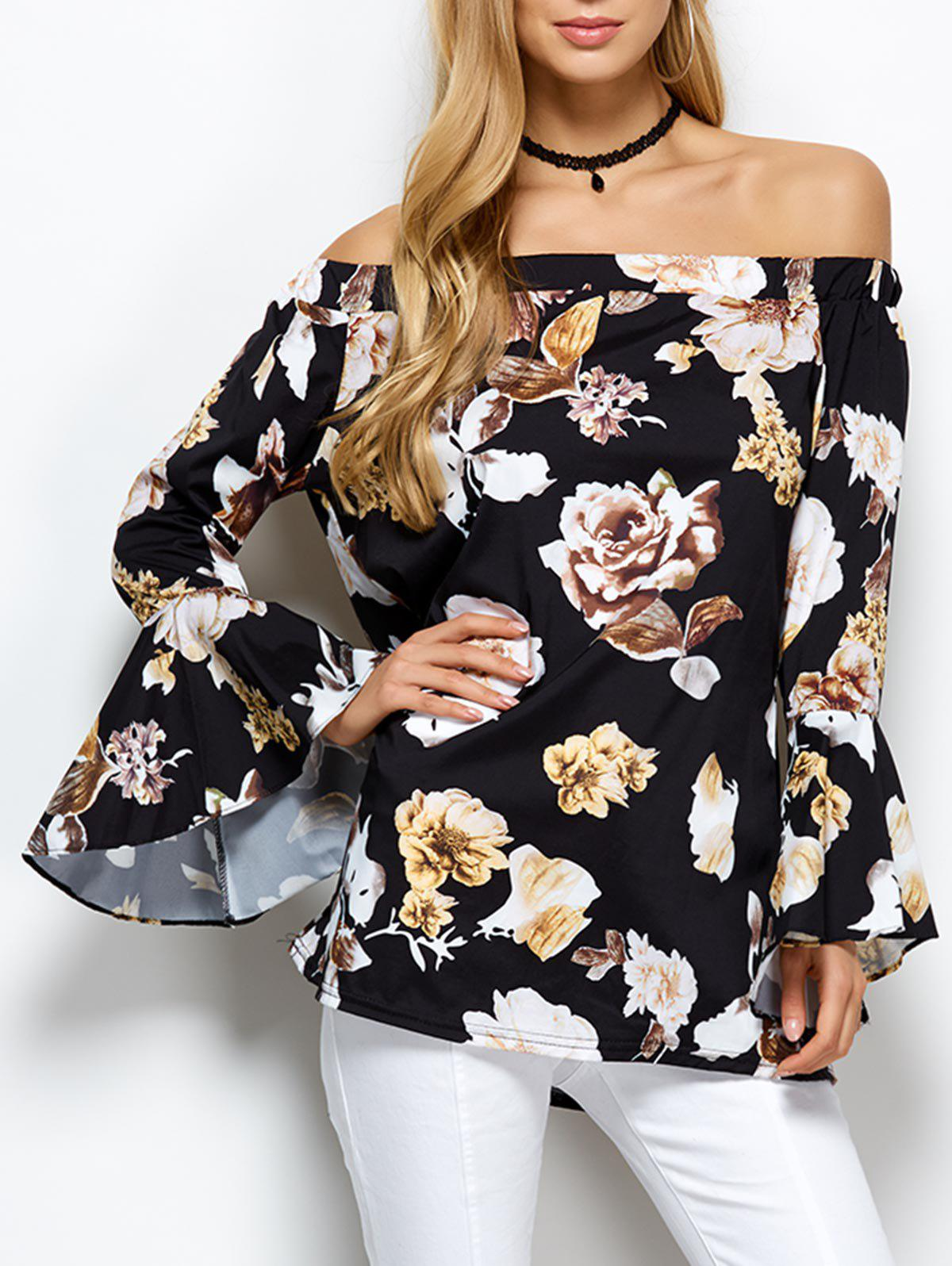 Cheap Bell Sleeve Off The Shoulder Floral Blouse