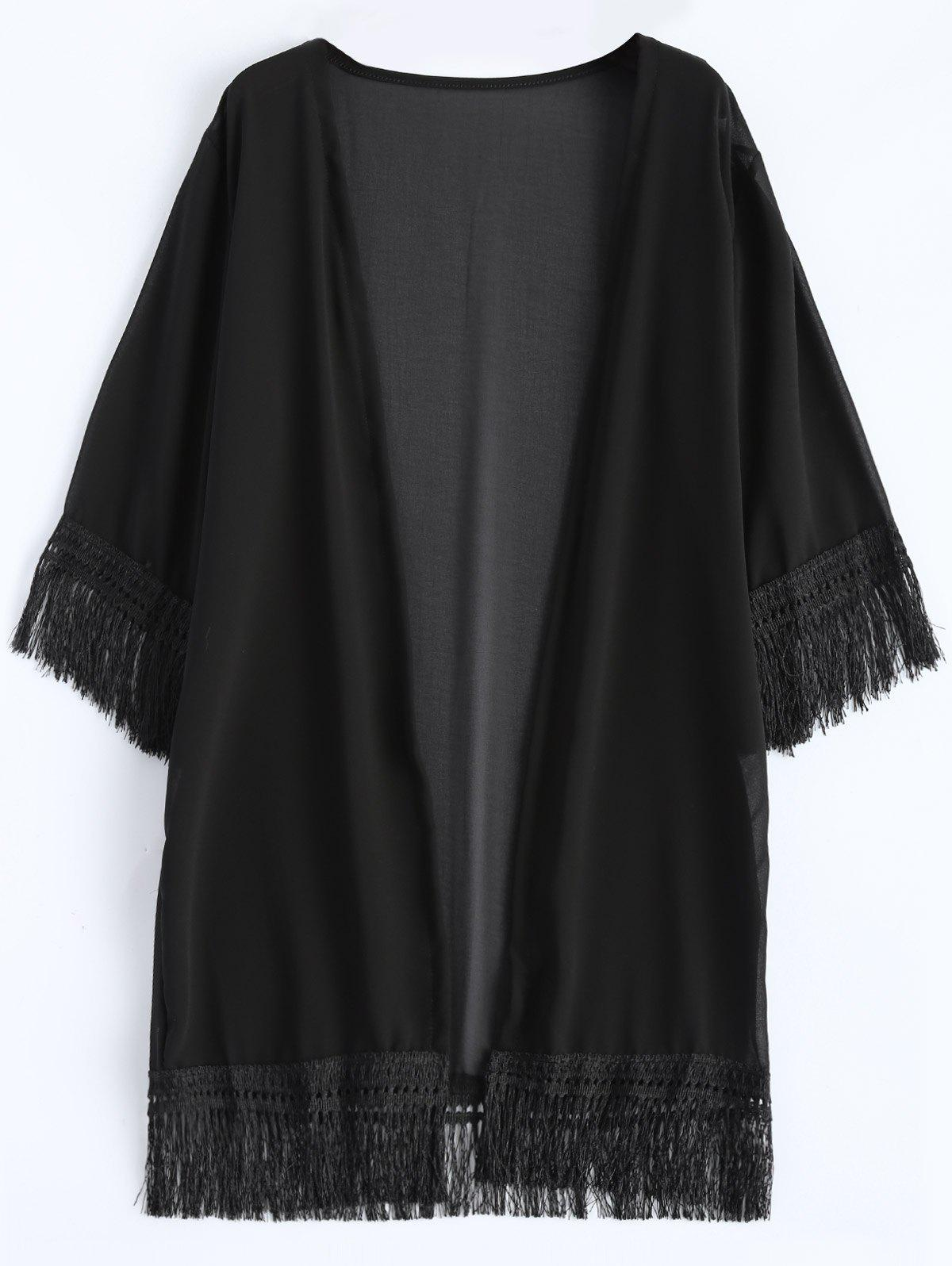 Fashion Chiffon Fringed Summer Cardigan Kimono Cover Up