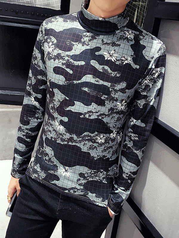 Outfit Long Sleeve Roll Neck Camouflage Tee