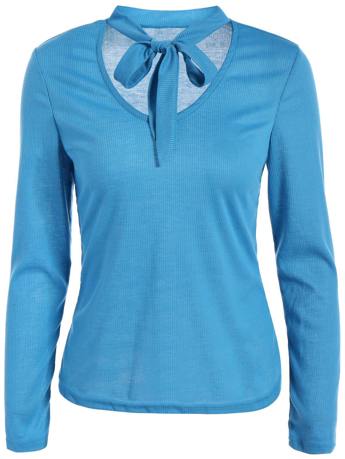 Best V Neck Long Sleeve Tee With Neck Tie