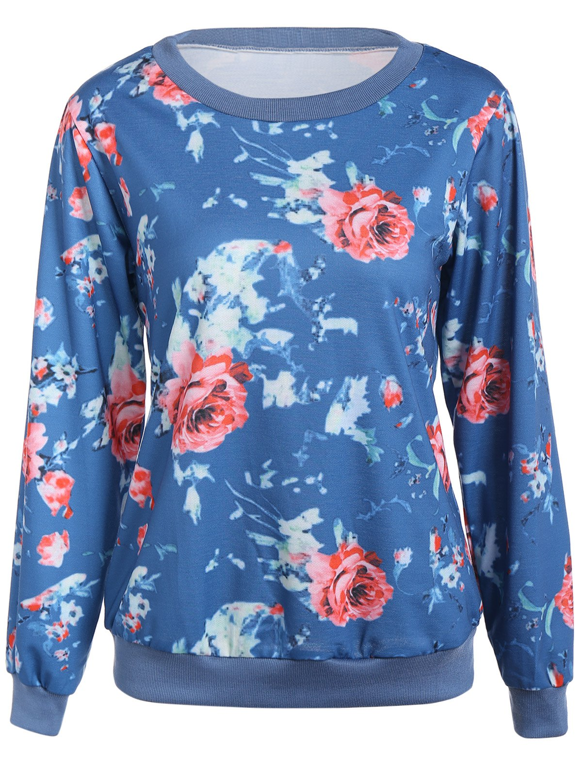 Cheap Floral Printed Crew Neck Sweatshirt