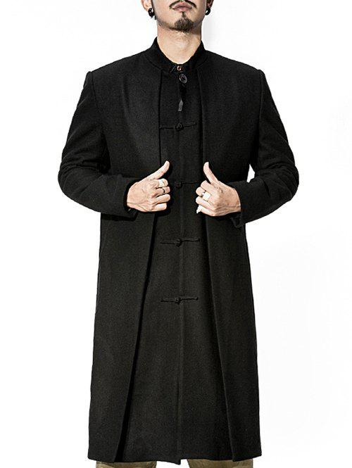 Discount Stand Collar Frog Button Longline Layered Coat