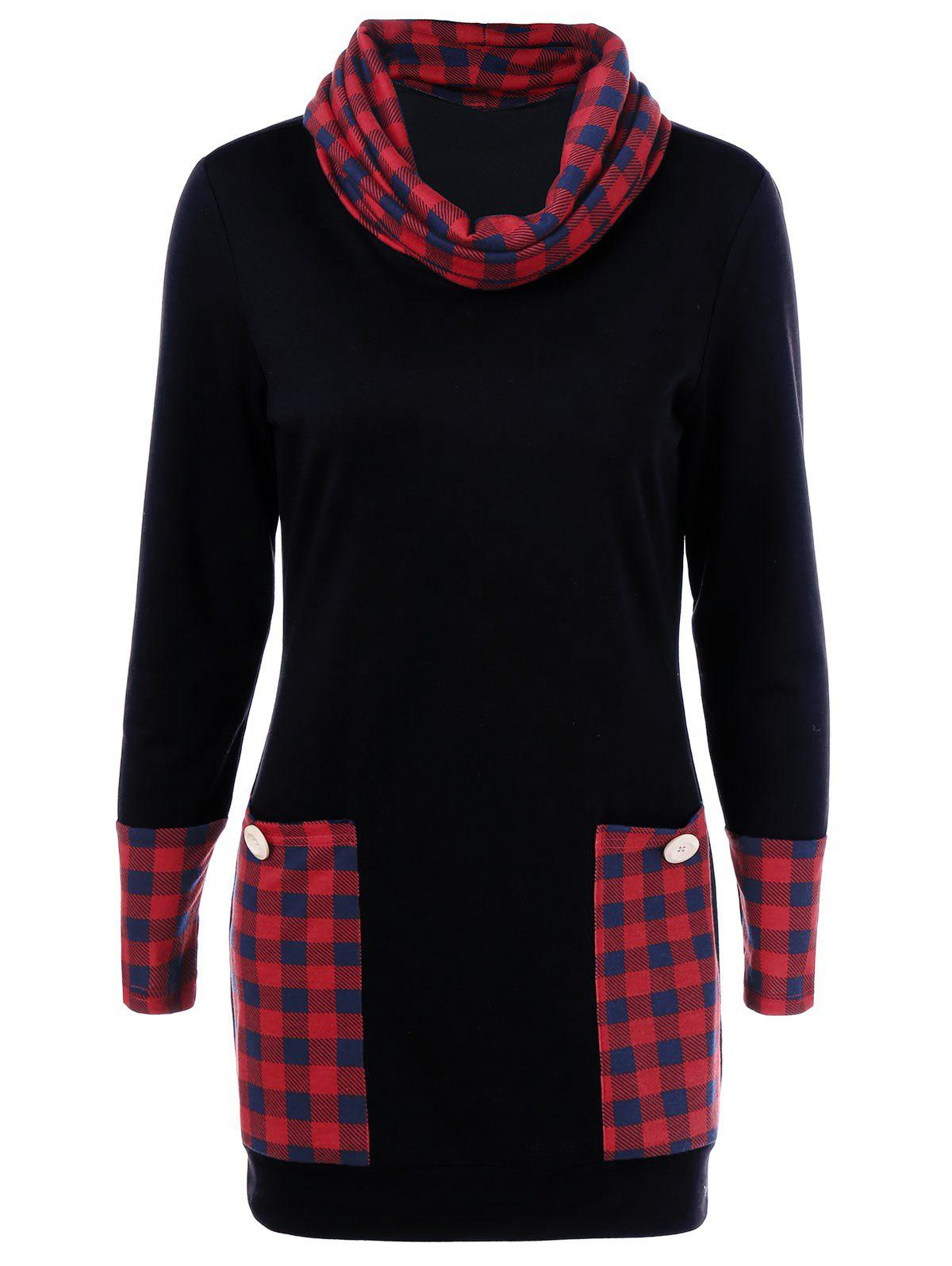Chic Casual Cowl Neck Plaid Trim Dress with Pockets