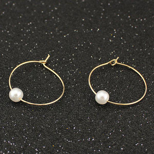 Outfits Artificial Pearl Circle Hoop Earrings