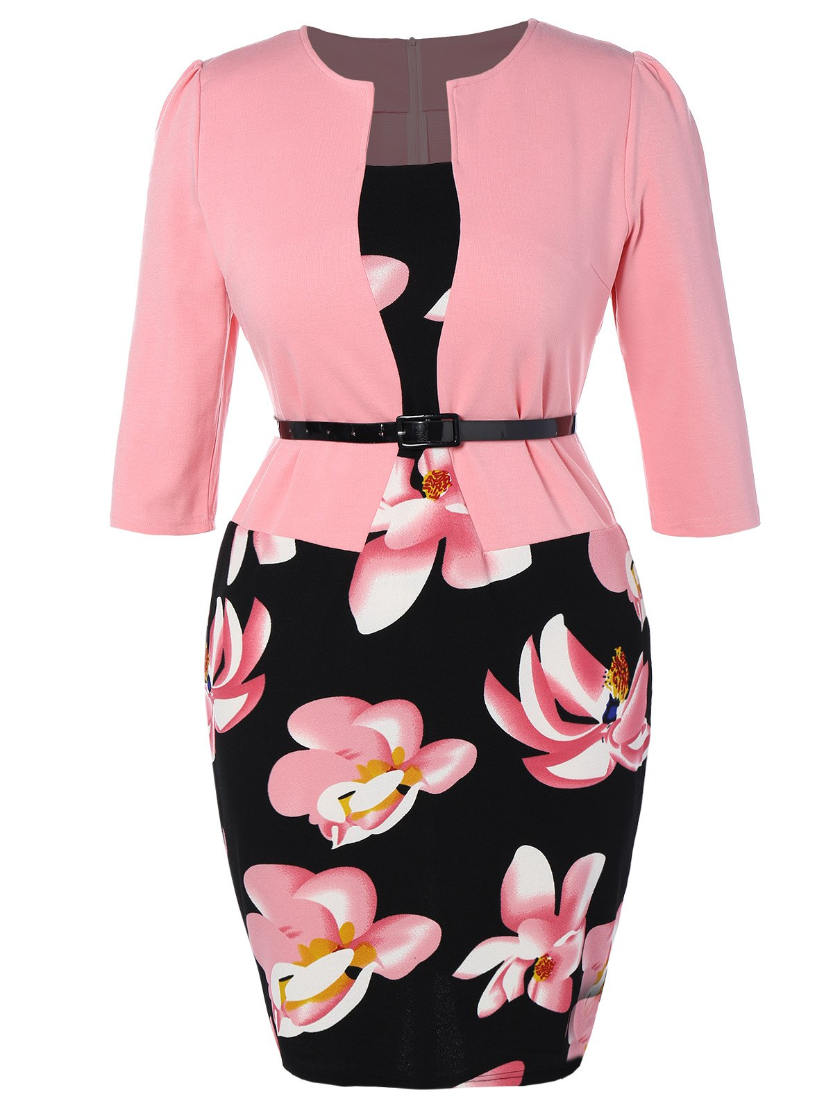 Plus Size Mid Length Pencil Peplum DressWOMEN<br><br>Size: 4XL; Color: PINK; Style: Work; Material: Cotton Blend,Polyester; Silhouette: Sheath; Dresses Length: Mid-Calf; Neckline: Square Collar; Sleeve Length: 3/4 Length Sleeves; Pattern Type: Print; With Belt: Yes; Season: Fall,Spring; Weight: 0.403kg; Package Contents: 1 x Dress  1 x Belt;
