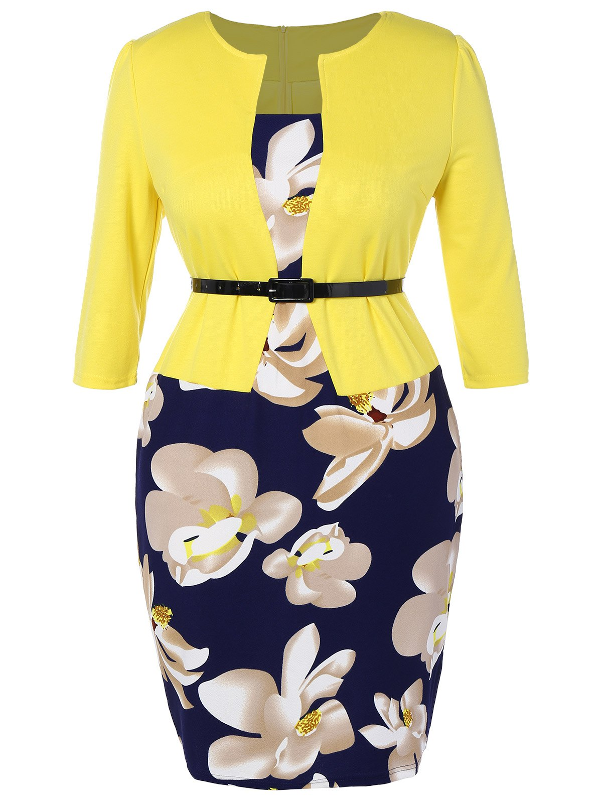 Plus Size Mid Length Pencil Peplum DressWOMEN<br><br>Size: 4XL; Color: YELLOW; Style: Work; Material: Cotton Blend,Polyester; Silhouette: Sheath; Dresses Length: Mid-Calf; Neckline: Square Collar; Sleeve Length: 3/4 Length Sleeves; Pattern Type: Print; With Belt: Yes; Season: Fall,Spring; Weight: 0.403kg; Package Contents: 1 x Dress  1 x Belt;