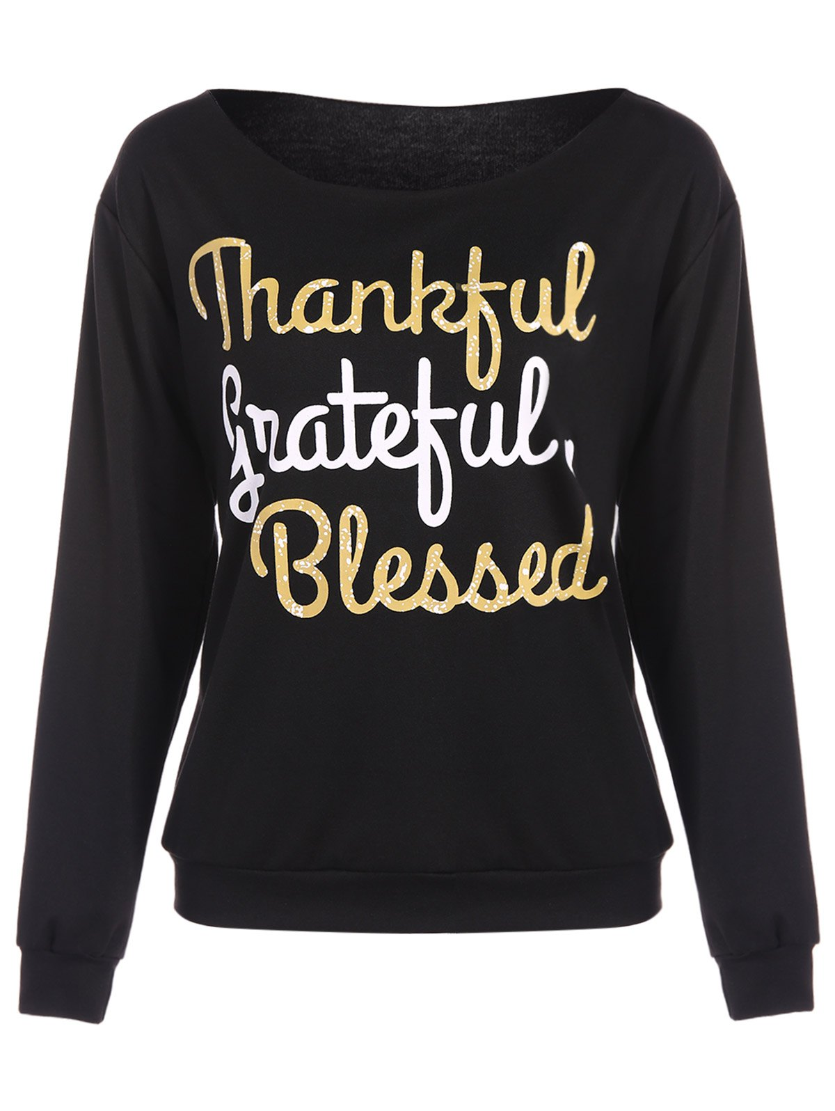 Outfit Thankful Print Pullover Sweatshirt