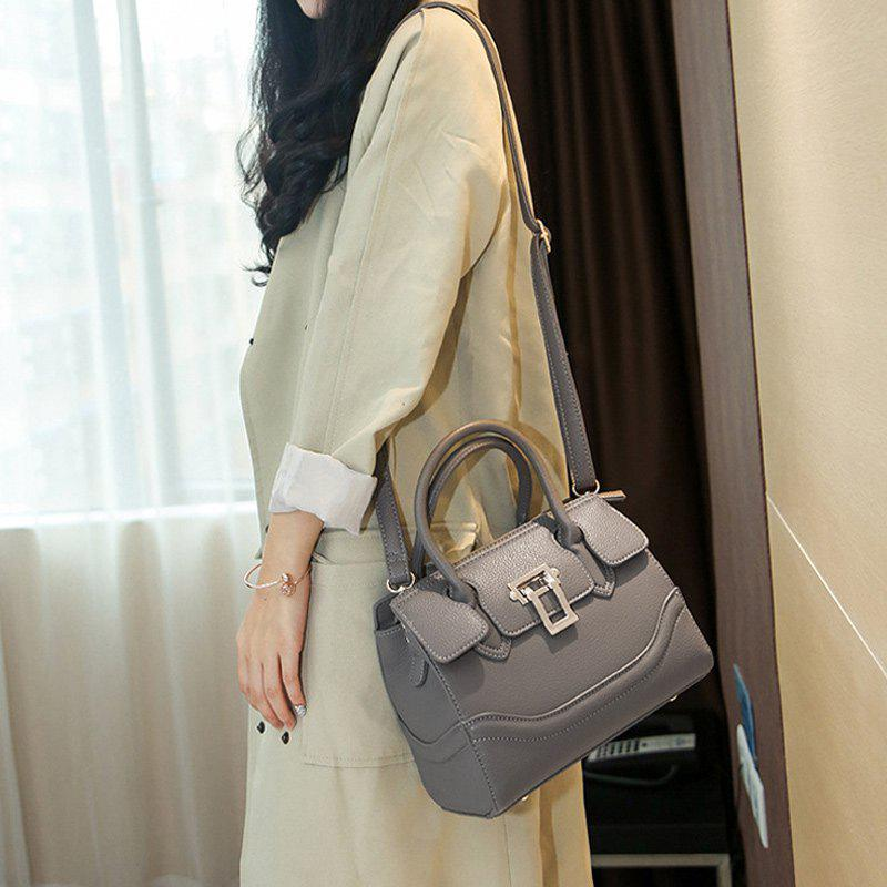 Chic Dome Stud Textured Leather Metal Tote Bag