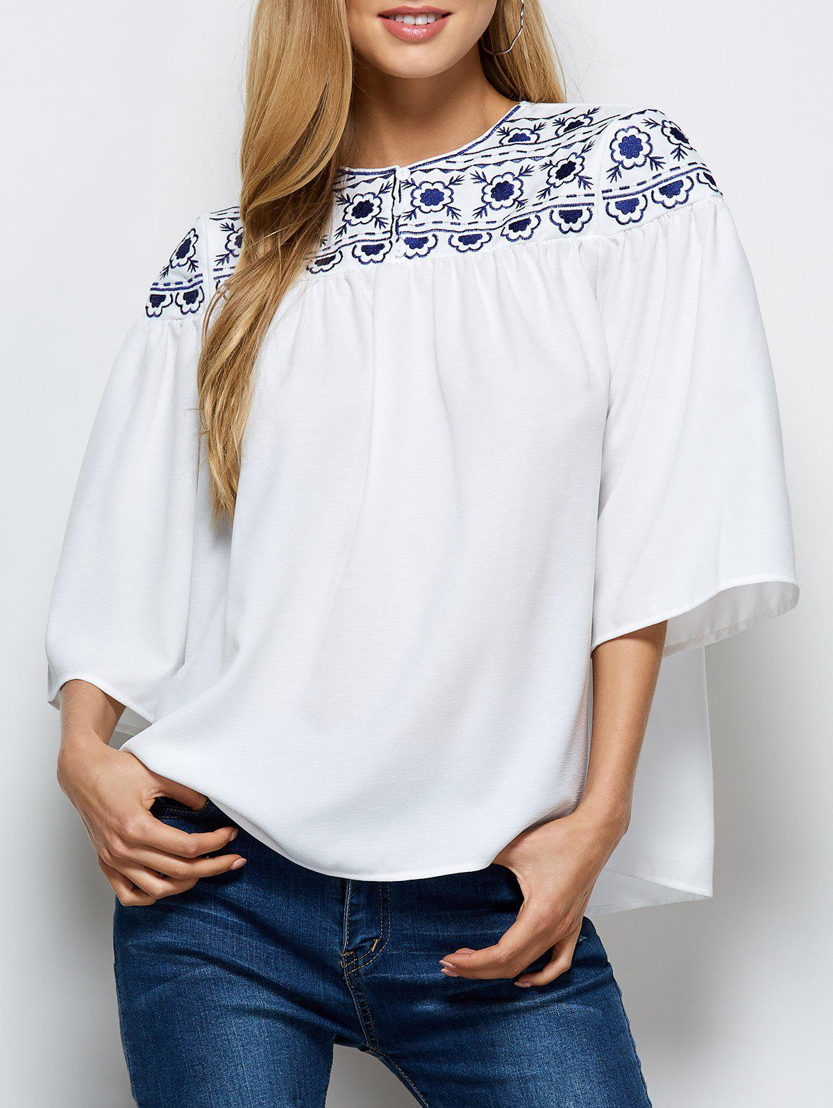 Trendy Retro Embroidery Maxican Peasant Blouse