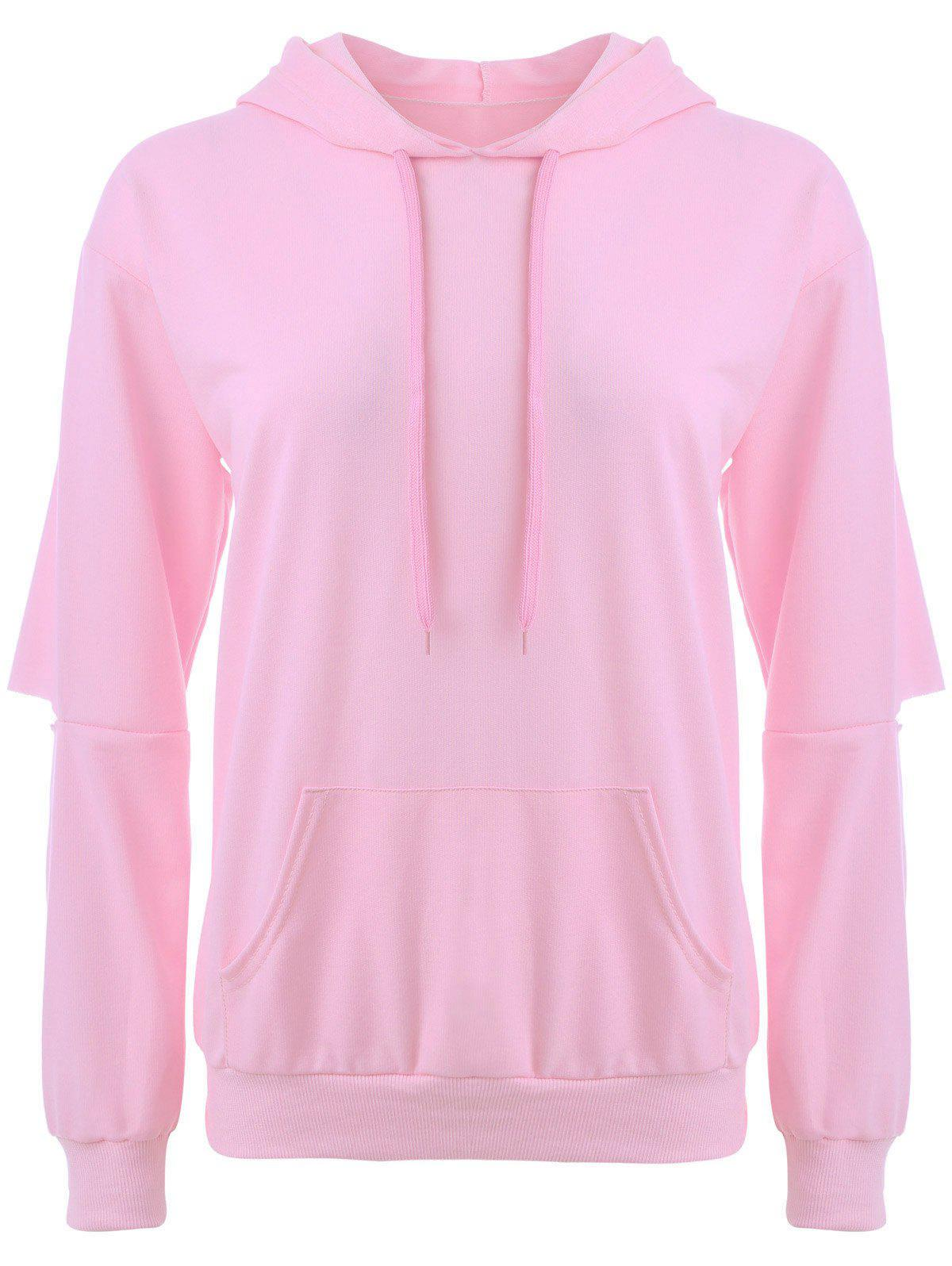 Store Cut Out Elbow Drawstring Hoodie