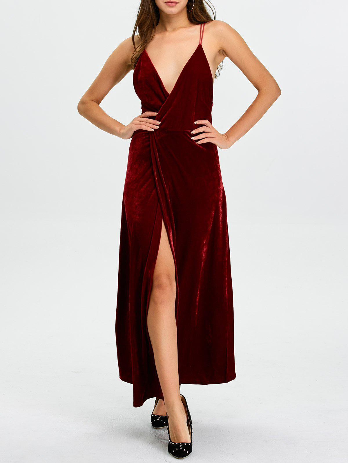 Trendy Backless Velvet Cami Slit Long Prom Dress