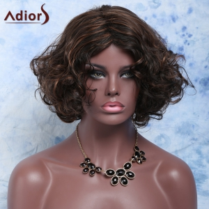 Charming Short Mixed Color Elegant Curly Synthetic Wig For Women -