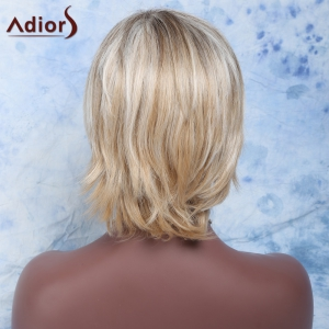 Shaggy Wave Side Bang Short Nobby Capless Mixed Color Heat Resistant Fiber Wig For Women -