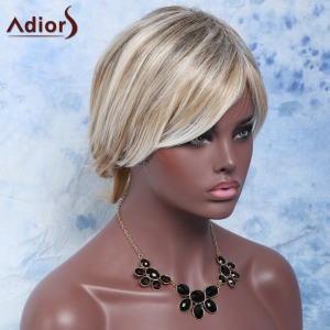 Shaggy Wave Side Bang Short Nobby Capless Mixed Color Heat Resistant Fiber Wig For Women - COLORMIX