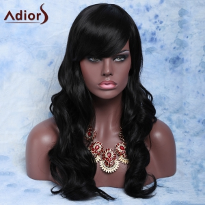 Trendy Long Curly Natural Black Full Bang Synthetic Capless Wig For Women -