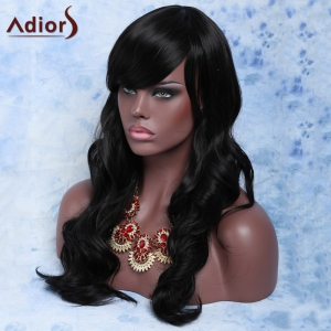 Trendy Long Curly Natural Black Full Bang Synthetic Capless Wig For Women - BLACK