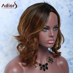 Mixed Color Side Parting Short Wavy Women's Fashion Synthetic Hair Wig -
