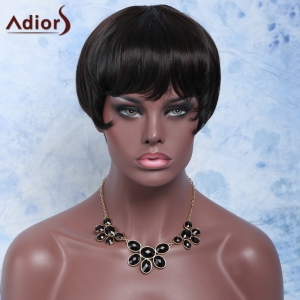 Short Straight Full Bang Capless Heat Resistant Synthetic Wig - BLACK AND BROWN
