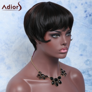 Short Straight Full Bang Capless Heat Resistant Synthetic Wig - BLACK/BROWN