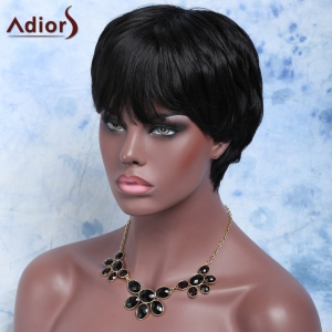 Short Straight Fluffy Side Bang Synthetic Wig - BLACK