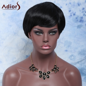 Short Fluffy Straight Neat Bang Pixie Cut Synthetic Capless Wig - BLACK
