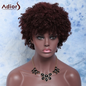 Fluffy Short Afro Curly Full Bang Synthetic Capless Wig - RED BROWN