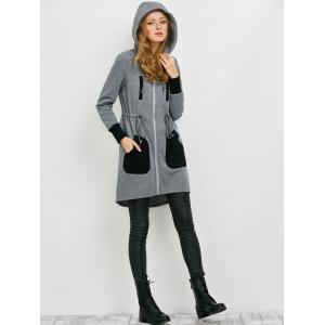 Zipper Up Hooded Coat -