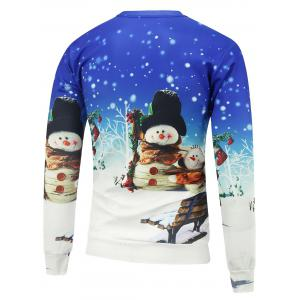 Christmas Snowman 3D Printed Crew Neck Sweatshirt - BLUE AND WHITE M