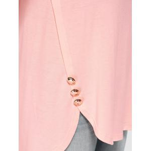Plus Size Button Decorated High Low T-Shirt - SHALLOW PINK XL