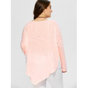 Plus Size Lace Trim Asymmetrical T-Shirt - SHALLOW PINK 3XL