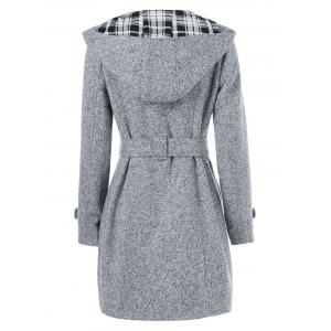 Hooded Long Wrap Belted Double Breasted Coat - GRAY L