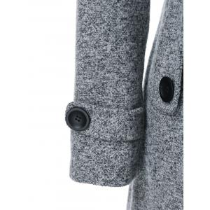 Hooded Long Wrap Belted Double Breasted Coat - GRAY M