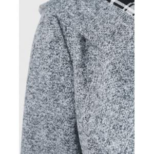 Hooded Long Wrap Belted Double Breasted Coat - GRAY XL