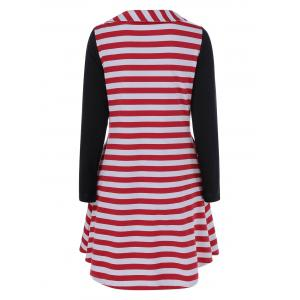 Side Collar Striped Dress -