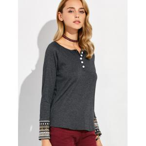 Raglan Sleeve Button Design Geometric T-Shirt - DEEP GRAY XL