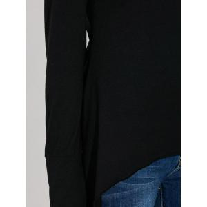 Asymmetric Long Sleeve Scoop Neck T-Shirt - BLACK 2XL