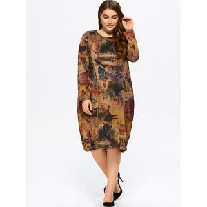 Plus Size Scenery Print Baggy Dress -